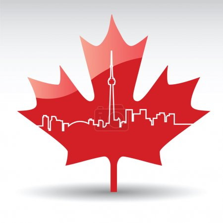 Illustration for Vector cityscape of toronto on a maple leaf - Royalty Free Image