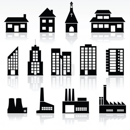 Illustration for Vector set of various buildings - Royalty Free Image