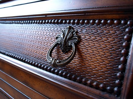Photo for A fullframe on furniture made of wood - Royalty Free Image