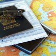 Canada passport with business travel necessities o...