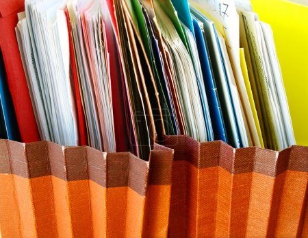 Photo for Row of folders in expending file pockets - Royalty Free Image