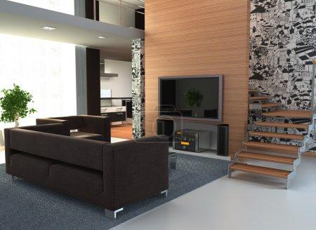Photo pour Image d'un intérieur avec un grand téléviseur - image libre de droit