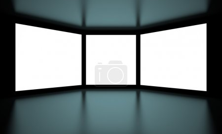 Photo pour Illustration 3d des écrans blancs sur fond noir - image libre de droit