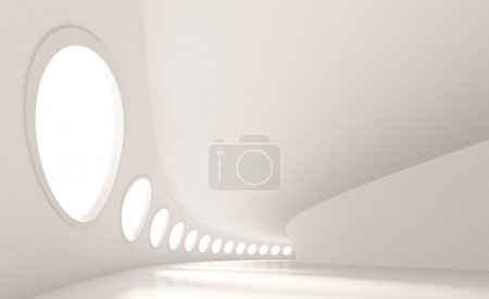 Photo for 3d Illustration of Modern Architecture. Large Abstract Interior - Royalty Free Image
