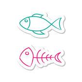 Fish Icons on White Background