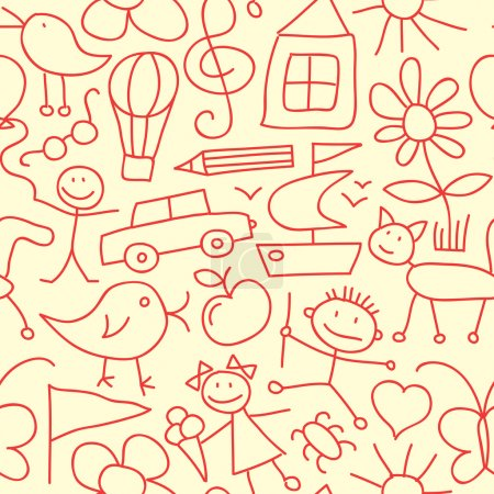 Illustration for Seamless Kid Pattern or Background - Royalty Free Image