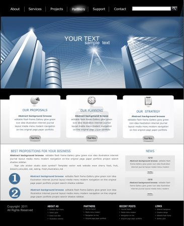 Illustration for Vector web site is black and blue with building for business - Royalty Free Image