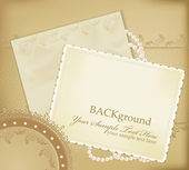 Vector congratulation gold retro background with pearls lace