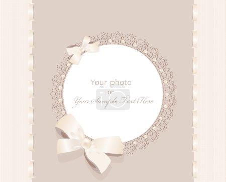 vecteur voeux mariage cadre pour photo avec un archet, de perles et de l