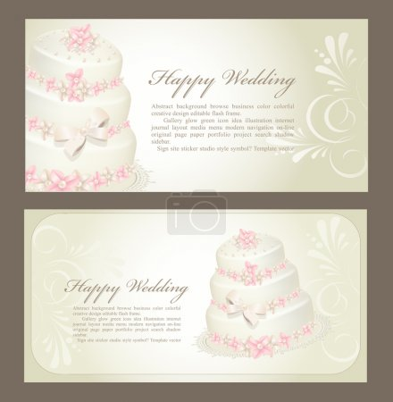 Wedding invitation, greeting card with a birthday cake