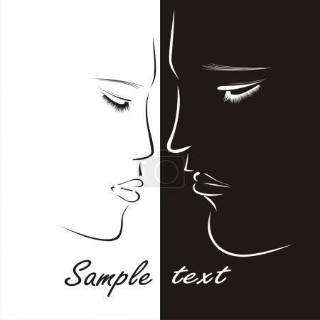 Illustration pour Embrasse. silhouettes homme et femme - image libre de droit