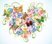 Heart from flowers with butterflies