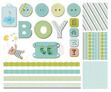 Illustration pour Éléments de conception de bébé garçon scrapbook - image libre de droit