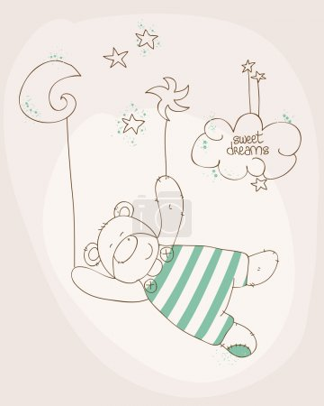 Illustration for Sleeping Baby Bear Cute Card - Royalty Free Image