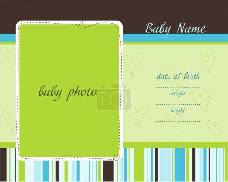 Illustration pour Carte d'arrivée de bébé avec cadres photo - image libre de droit