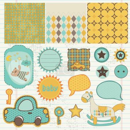 Illustration pour Éléments de conception pour l'album de bébé en vecteur - image libre de droit