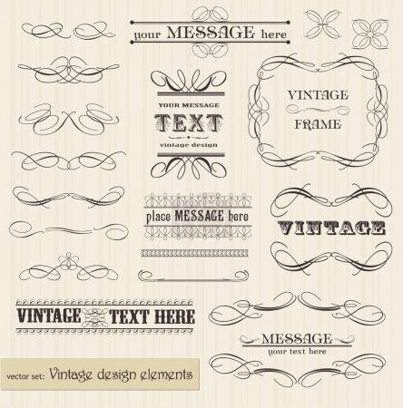 Photo for Vector vintage set: calligraphic design elements and page decoration - easy to edit and use - Royalty Free Image
