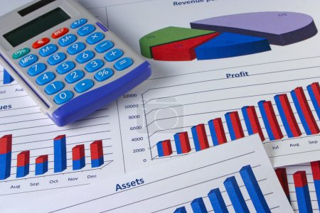 Photo for Financial management charts with a calculator - Royalty Free Image