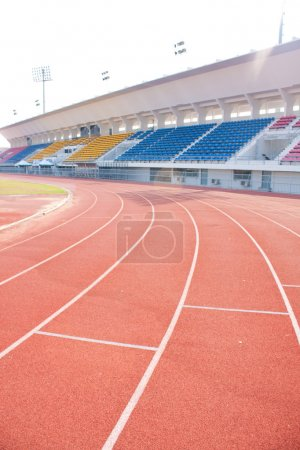 Angle curve of the athletics track.