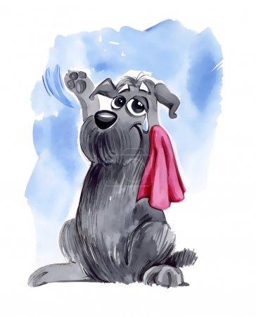 Photo pour Illustration humoristique du chien hirsute, ondulant au revoir - image libre de droit