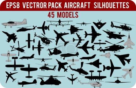 Illustration pour Silhouettes vectorielles détaillées du pack d'avions civils et militaires au format EPS8 - image libre de droit