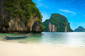 A long tail boat by the beach in Thailand