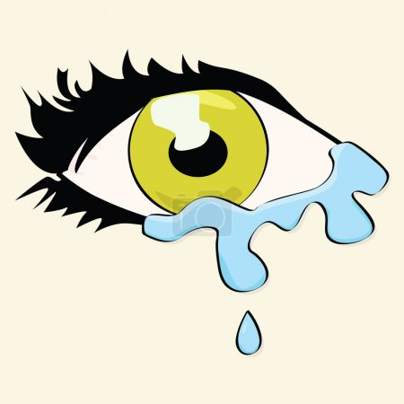 Illustration for Cartoon illustration of a woman's eye crying - Royalty Free Image