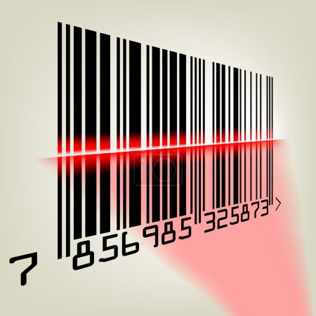 Bar code with laser light. EPS 8