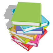 Stack of multicolor books on white background Vector Illustration