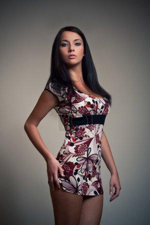 Brunet girl in black dress
