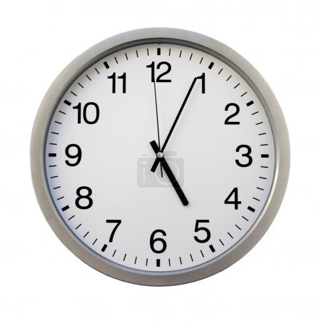 Photo for Five o'clock on the white wall clocks (isolated) - Royalty Free Image