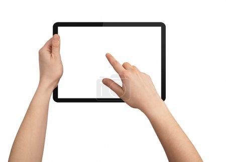 Photo pour Une main masculine tenant un pavé tactile pc, un doigt touche l'écran, isolé sur blanc - image libre de droit