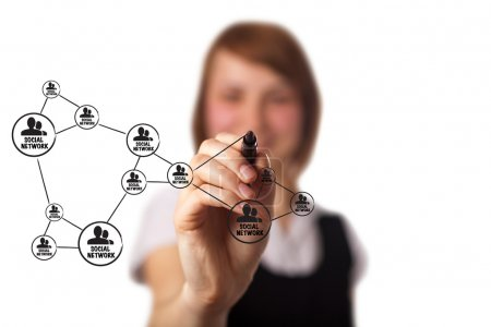 Photo pour Homme d'affaires dessinant un schéma de réseau social sur un tableau blanc (sur bokeh ) - image libre de droit