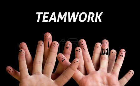 Photo for Happy group of finger smileys 3 (teamwork theme) - Royalty Free Image