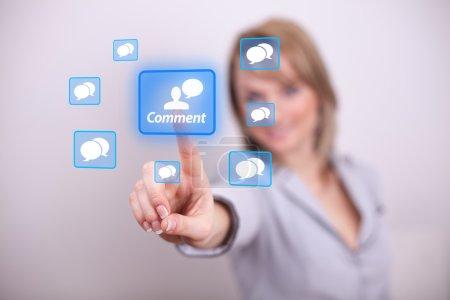 Woman pressing comment button