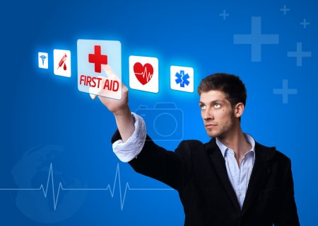 Doctor pressing digital button