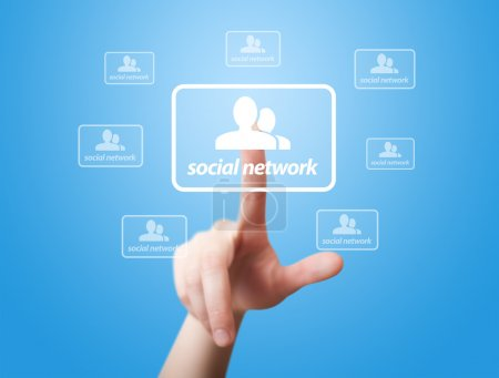 Hand pressing Social Network icon 2