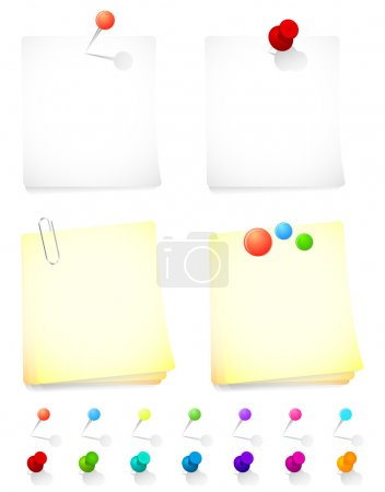 Note paper and pins in various colors