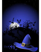 Halloween flyer with Witch's Hat and cemetary