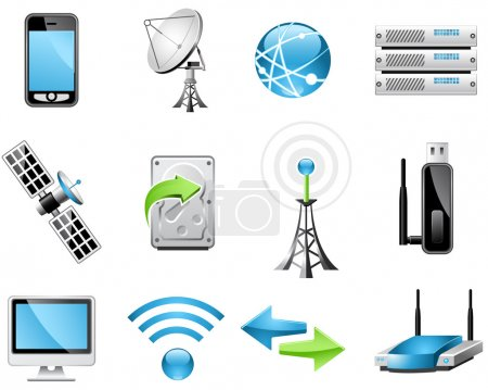 Illustration for Wireless Technology and Global communication icons - Royalty Free Image