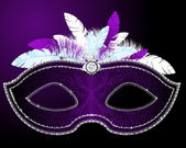 Shiny Masquerade Mask with feather in different colors