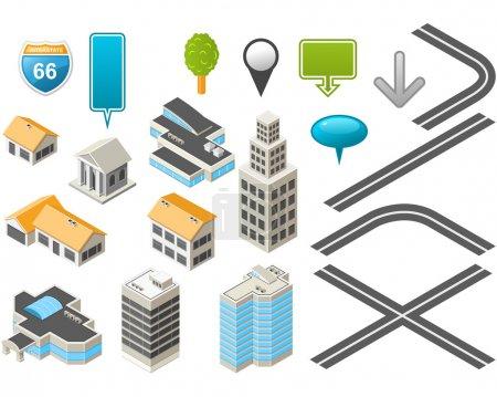 Photo pour Trousse à outils Map isométriques bâtiments et routes - image libre de droit