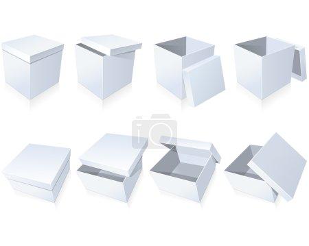 Ilustración de Cajas de cartón en blanco con tapa en diferentes posiciones - Imagen libre de derechos