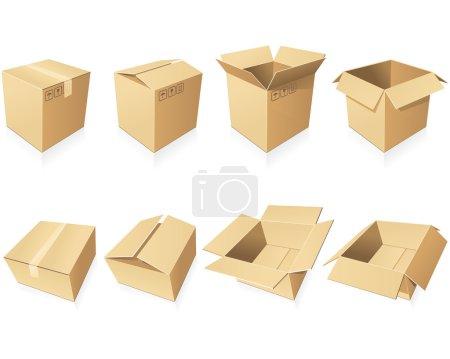 Illustration pour Boîtes en carton vierges dans différentes positions et styles - image libre de droit