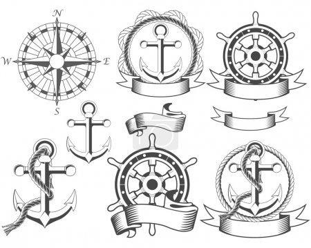Illustration for Nautical emblems with different seafaring design elements - Royalty Free Image