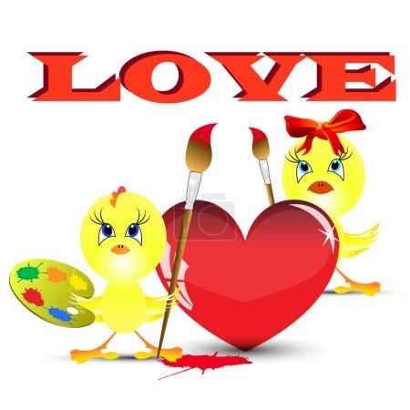 Photo pour Deux poulets sur la Saint Valentin coeur de peinture - image libre de droit