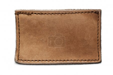 Blank leather jeans label isolated