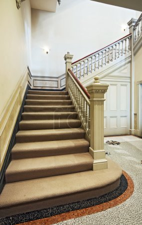 Photo for Victorian vintage staircase with carved wooden handrail - Royalty Free Image