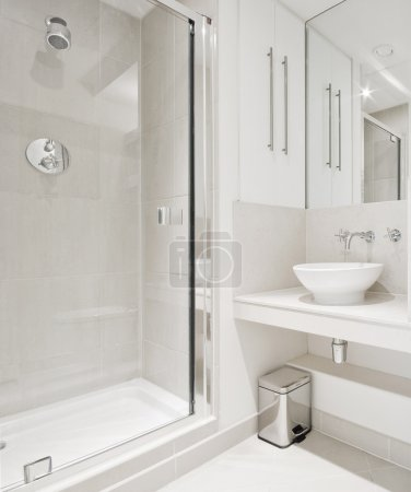 Modern bathroom with corner shower