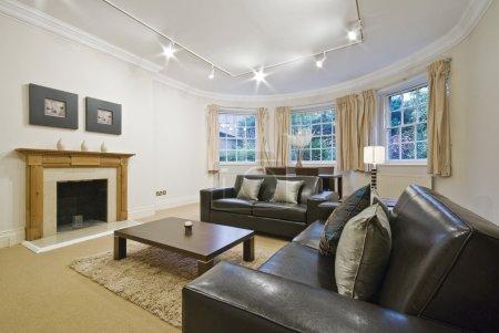 Photo pour Salon massif avec baie vitrée et canapés en cuir de luxe - image libre de droit